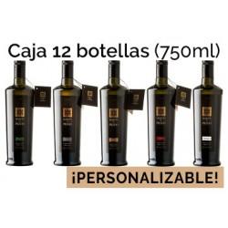 Caja personalizable de 12 botellas de vidrio de 750ml