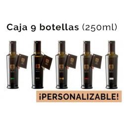 Caja personalizable de 9 botellas de vidrio de 250ml