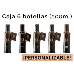 Caja personalizable de 6 botellas de vidrio de 500ml