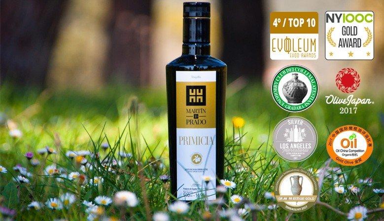 Aceite de Oliva Virgen Extra (AOVE) blend PRIMICIA, galardonado en competiciones internacionales