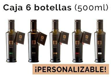 Caja de 6 botellas de 500ml de nuestros aceites (Picual, Arbequina, Manzanilla, Cobrançosa y Coupage)