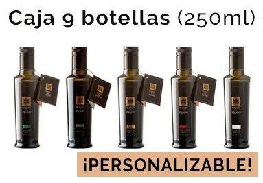 Caja de 9 botellas de 250ml de nuestros aceites (Picual, Arbequina, Manzanilla, Cobrançosa y Coupage)