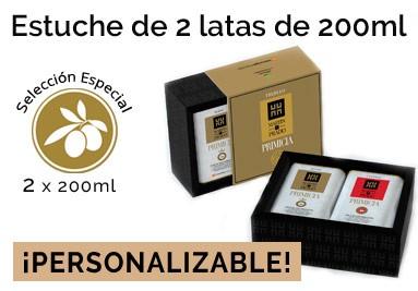 Estuche personalizable de 2 Latas de 200ml de AOVE Colección Primicia