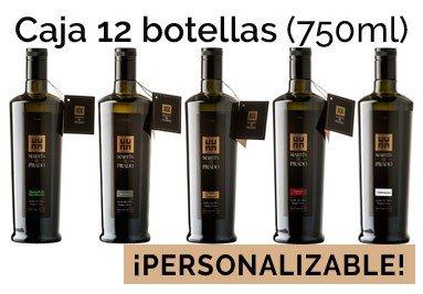 Caja de 12 botellas de 750ml de nuestros aceites (Picual, Arbequina, Manzanilla, Cobrançosa y Coupage)